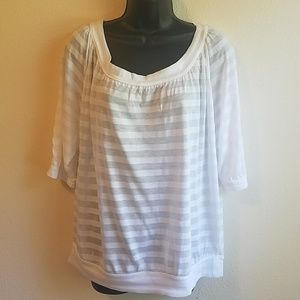 EXPRESS White Striped Top Med. NWT